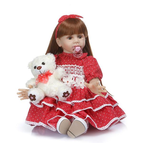 Bebe reborn 60CM big real baby size 6-9Month princess toddler Fridolin soft silicone bebe doll reborn long hair baby