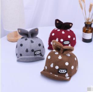 Корейская версия детской бейсбольной шапки Bunny Flip Осень и зима Мультфильм Шапка для уха Детская шерстяная шапка с подогревом