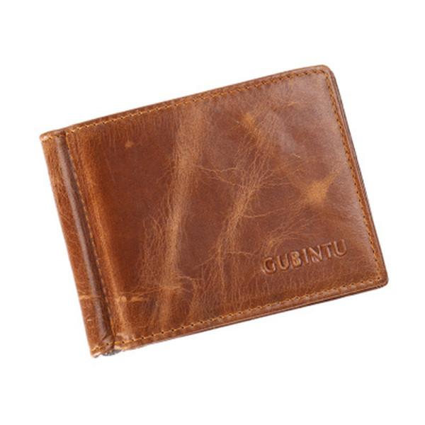 Slim Money Clip Brand Men Women Genuine Leather Bifold Male Purse Billfold Wallet Money Clip Female Clamp for Case