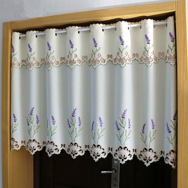 Half-curtain Purple Lavender Flower Embroidery Hollow Lace Coffee Curtain Translucent Hem Tulle Curtain for Kitchen Cabinet Door