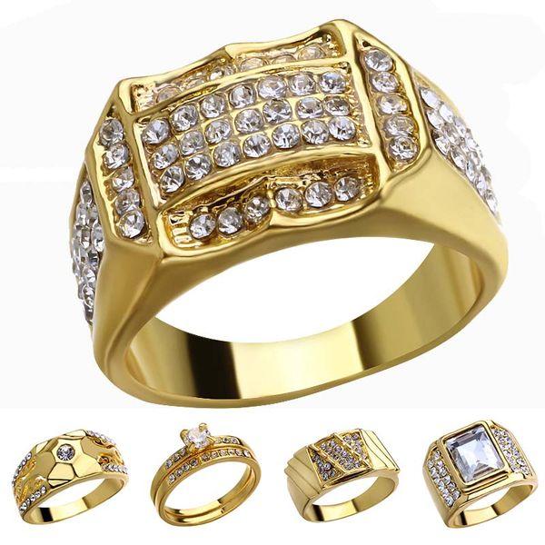 18k anel de diamante de ouro anéis de cristal anéis de ouro mulheres homens designer anéis jóias moda will will and sandy navio da gota 080425
