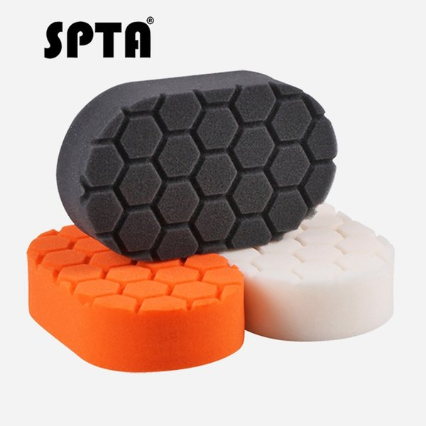 spta 5pcs pack oval waxing sponge hex-logic car beauty wax applicator paint care waxing pad rubbing compound applicator foam pad