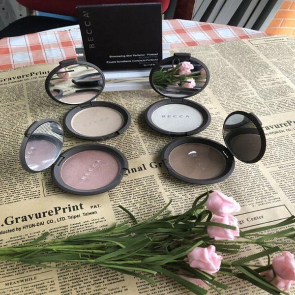 Stock Becca Moonstone / Opale / Or Rose / Perle Poudre pour le visage Éclaircir le perfecteur de peau chatoyant pressé 4 couleurs Palette de maquillage pour le visage nu
