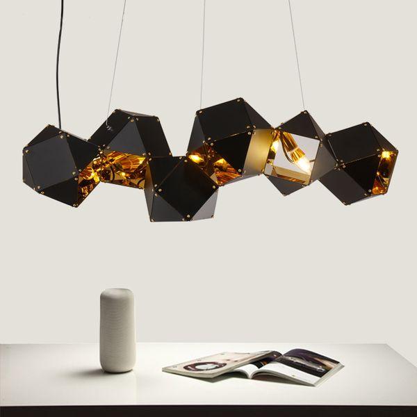 Nordic modern metal bull creative pendant lamp DNA design hotel club model room pendant light Black/White