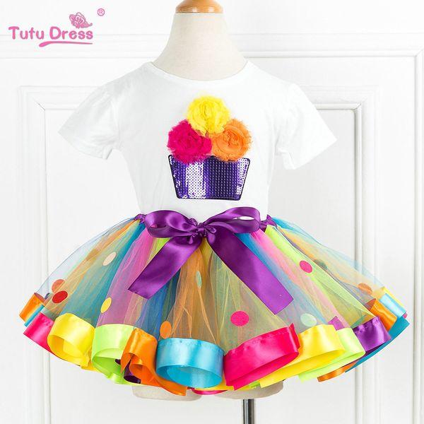 Cartoon Flower T-shirts+tutu Skirt Dress White Short Sleeve Baby Children Girls Tops Birthday Party Dress 2pcs Clothing Sets Y190522