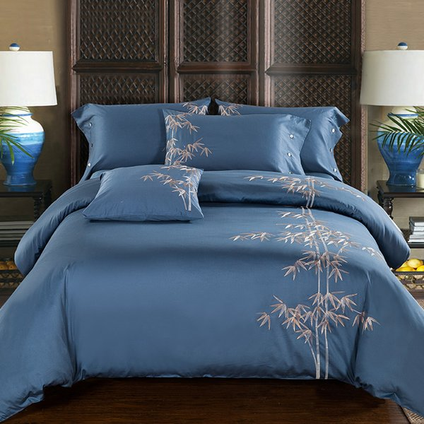 Egyptian Cotton Embroidery Luxury Oriental Bedding set King Queen size Bed set Coffee Blue Duvet cover Bed sheet set pillowcase