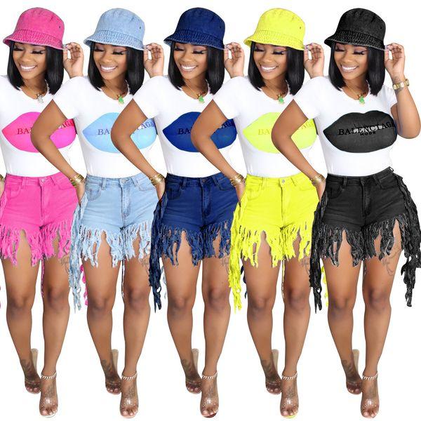 top popular Summer Women Short Tassel Jeans High Waist Jeans Fashion Designer Vintage Shorts Jeans Female Skinny Pants 2021
