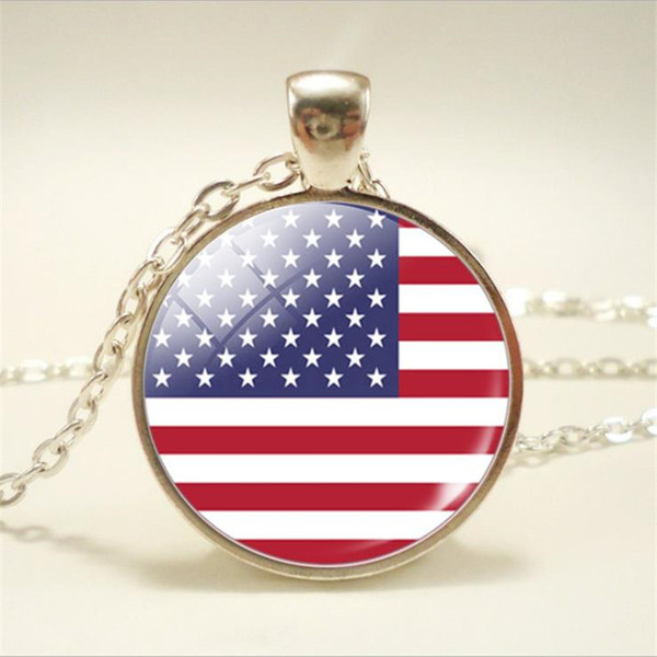 USA National Flag World Time Gem Glass Cabochon Necklaces & Pendant Silver Long Chain Choker for Women Men Jewelry Vintage Bohemian 2019 New