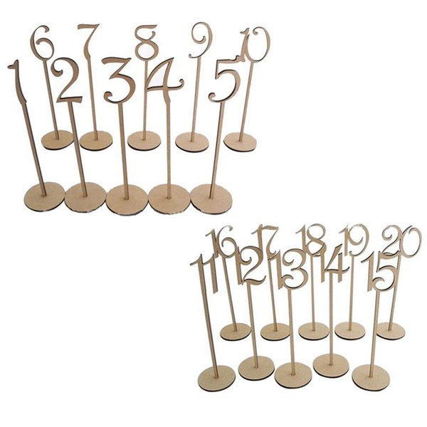 10pcs /Set Wooden Place Holder Table Number Figure Card Digital Seat For Wedding Decoration Event Party Supplies