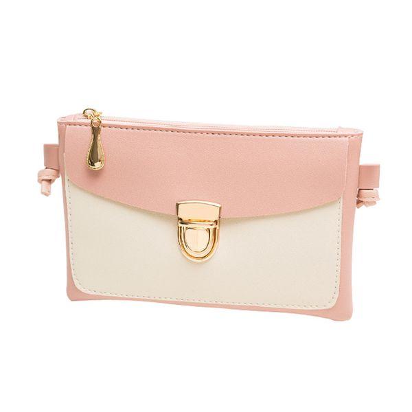 Cheap Pink Leather Zipper Hasp Crossbody Handbags Women Mini Phone Crossbody Handbag Patchwork Shoulder Messenger Handbag Retro Bag#YL