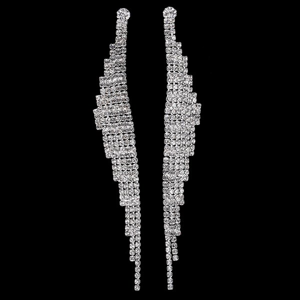 jewelry pin 2016 New Fashion Womens Wedding Jewelry Silver Plated Full Rhinestone Filled Pave Crystal Dangle Tassel Long Earrings HOT Sale