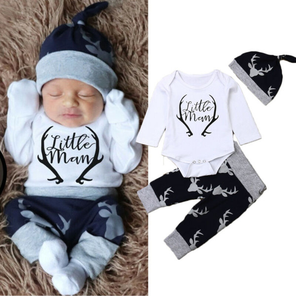 Christmas Baby clothes set Newborn Baby Boy Clothes Little Man Romper Tops+Deer Pants+Hat Xmas Outfits surprise 0-18Month