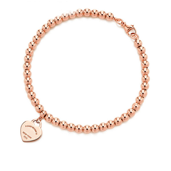 top popular 100% 925 sterling silver tag love original classic heart-shaped rosegold bead bracelet women jewelry gifts personality 2021