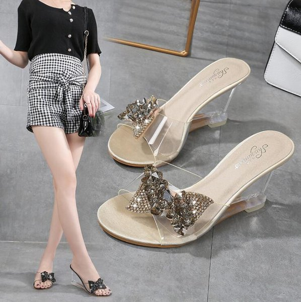 2019Female Slipper Shoes Wedges Transparent High Heel Slipper Summer Butterfly-knot Wild Women Slipper Crystal Sandals