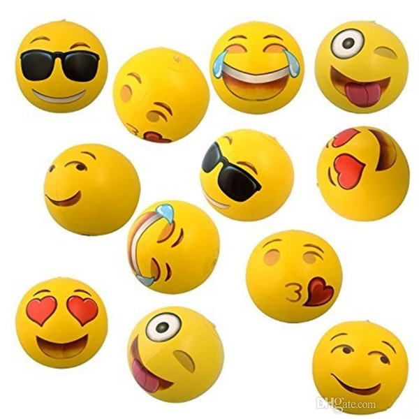 Inflatable Beach Balloons Cute Emoji balls Outdoor Sand Children Summer Party Water Fun Pool Toys For Kids Happy Cry Facebook expressions