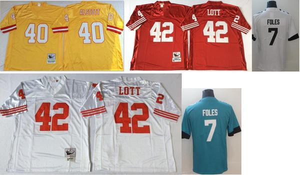 Tampa bay #40 Mike Alstott Jacksonville 7 Nick Foles Mens Vintage SF 42 Ronnie Lott College Color Rush Limited American Football Jerseys
