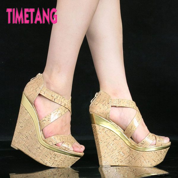 TIMETANG Freeshipping Vingtage Style Wood Cross Strap Wedge Women Sandals Comfortable Platform 14.5cm High Heel Open Toe Shoe