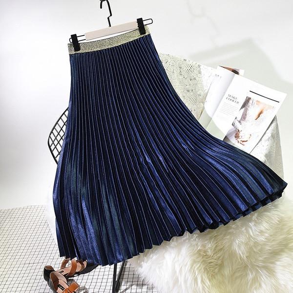 2019 Spring Women Elegant Pleated Skirt Elastic High Waist Women Long Skirt Female Autumn Ladies High Quality Midi Skirt Saia J190619
