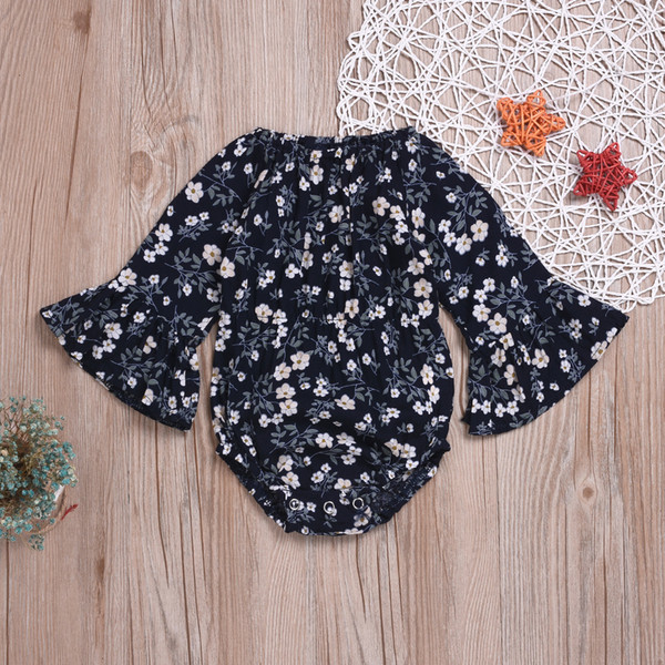 Newborn Girls Bell Sleeves Print Floral Western Vintage Fashion Clothes Ins Hot Cute Kids Infant Toddler Rompers