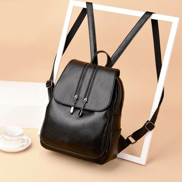 2019 venta al por mayor mochila alumno PU cuero mochila estilo mujeres ocio moda bolsos bolso varios estilos schoolbag schoolchild A006L