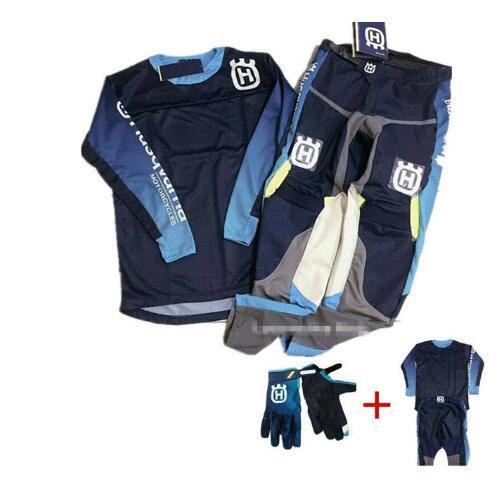 For Husqvarna Husky Style 2019 Men Motocross Suit Motobiker Racing Jersey Pants Motorcycle MX riding combination with Glove