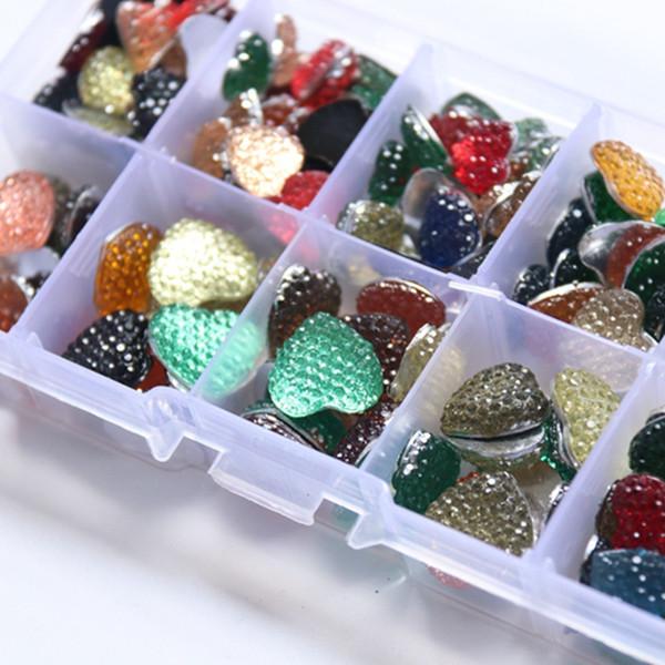 10-14MM 200Pcs/Set Mix Colors Heart Shape Flat Back Resin Acrylic Jewellery Finding Jewelry Bead