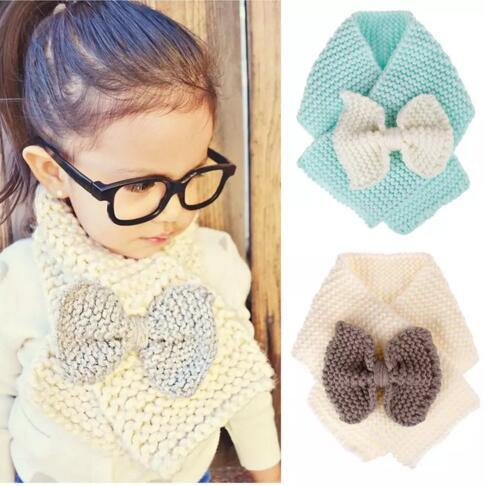 INS Baby Winter Knitted Scarf Crochet Children Girls Boys Neck Ring Scarf With Bow Kids Warm Knit Scarves 4 colors B11