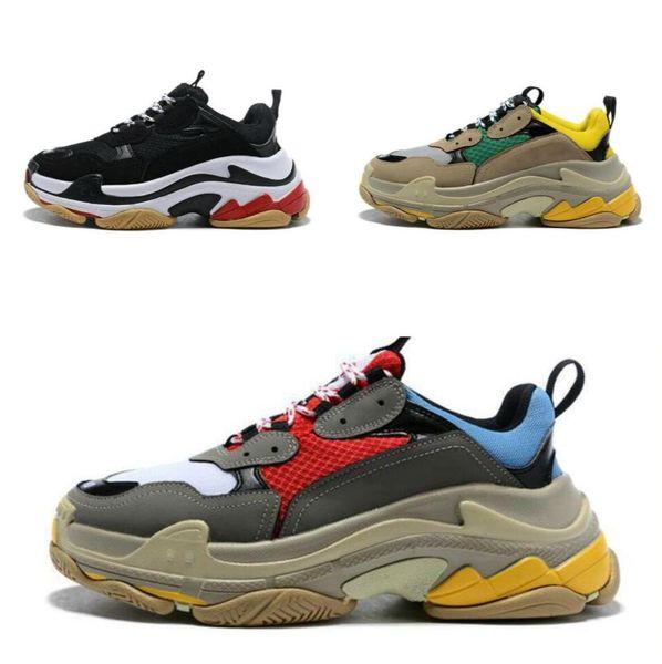 2019 100% TOP Moda kiParis 17FW Moda Papá Zapatos para hombres Mujer Triple-S zapatos Zapatilla de deporte Triple S Beige Negro Tenis Zapatos 35-45