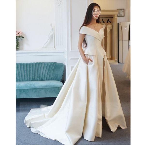 2019 Elegant Off Shoulder V Neck Prom Dresses Front Split Jumpsuits Evening Gowns Sweep Train Two Pieces Plus Size Women Formal Dress