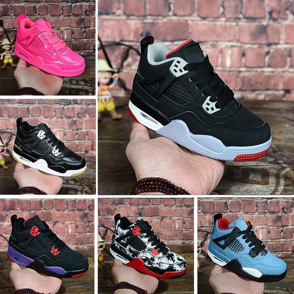 2019 Дети малыш 4S OG Black Cat Баскетбольные кроссовки Reflect Для детей Мальчики Девочки Спортивные кроссовки высокого качества Blackcat детская обувь