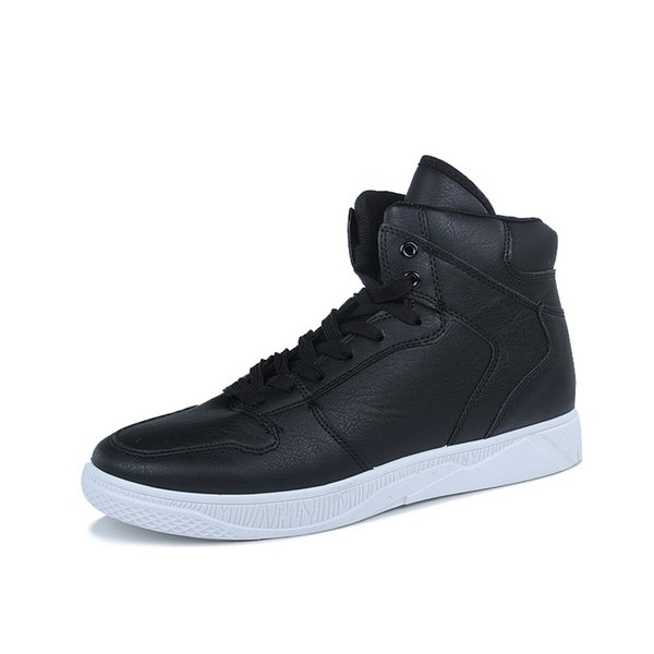 2019 famous designer brand new spring high help breathable lace-up shoes leisure shoes black students personality male shoes joker trend