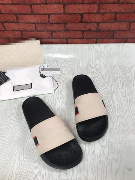 2019 Rubber Slide Sandal Slippers Stripe Fashion quality Designer Men Classic Ladies Summer Flip Flops hx181023013