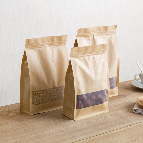 100pcs Brown Kraft Paper Gift Candy Bags Wedding Packaging Bag Recyclable Food Bread Party Shopping Bags For Boutique Zip Lock