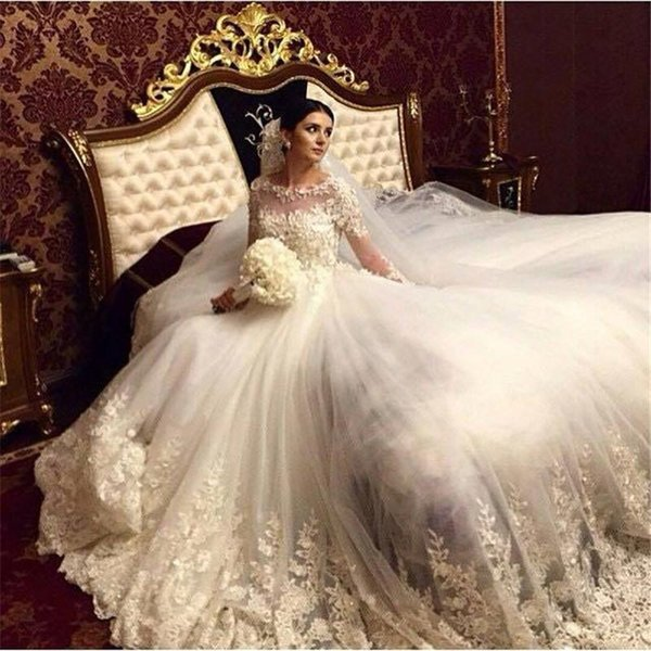 2018 Romantik Prenses Victoria Balo Gelinlik Scoop Uzun Kollu Arapça Müslüman Dantel Aplikler Gelin Elbise BA0632