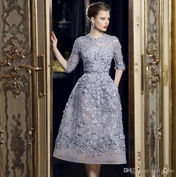 2020 Elie Saab corti abiti da sera formale 3D Applique floreale pizzo con mezza manica abiti da red carpet celebrità vestito da promenade