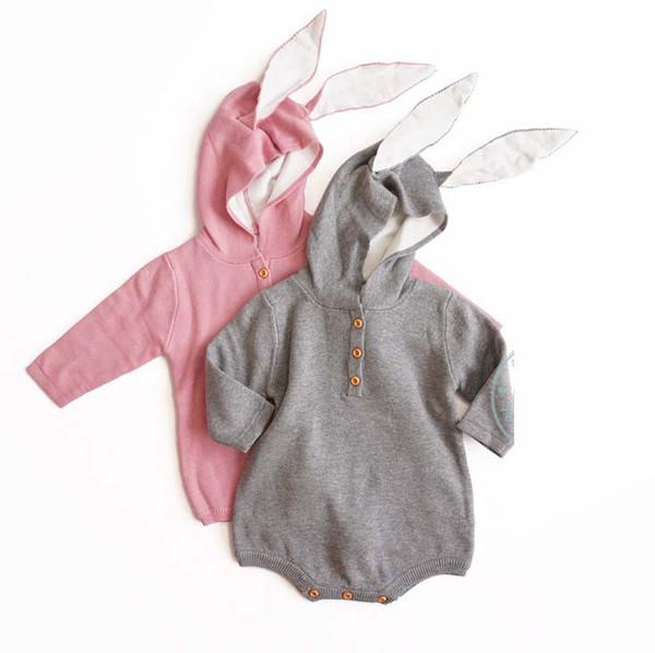 INS Baby Girls Knit Romper Cute Toddler Bunny Ear Long Sleeve knitting Jumpsuit Fashion Cartoon bear Infant Boys Casual Onesie Y2557
