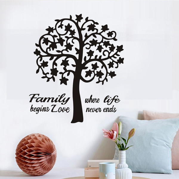 1 Pcs Swirl Tree Art Wall Sticker Pattern, Family Where Life Begins Love Never Ends Quote Wall Picture For Home Decoration Wall Decor