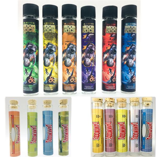 Dank Legno Moonrock vetro vuoto Tubi DANKWOODS Cork Consigli Vape cartucce pre-roll comune Packaging 120 * 21 millimetri Secco Erba aromatica olio vaporizzatore