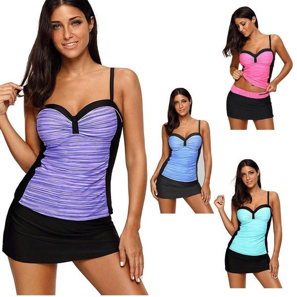 Moda Feminina Dividir Two-piece Bikini Swimsuit Contraste Cor Plissado Plus Size Swimwear Novas Mulheres Da Moda Plus Size Swimwear