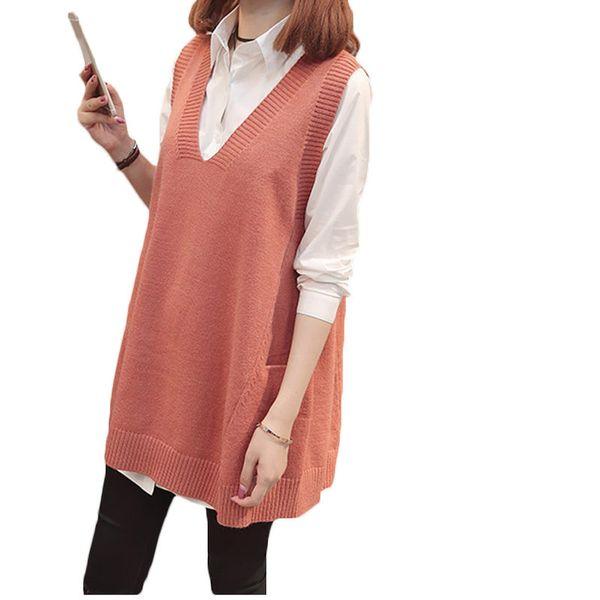 Moyen Taille Automne Vrac Long De En V Femme Vest Gilet Grande Printemps Tricot Acheter Pull Lq654 Sans Col Manches Nouveau 2019 trQhdxCs