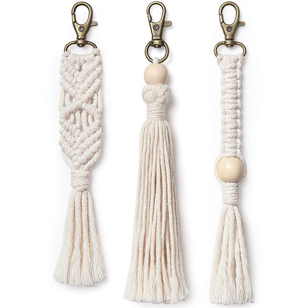 Mini Macrame Keychains Boho Macrame Bag Charms with Tassels Handcrafted Accessory for Car Key Purse Phone Wallet Unique Wedding Gift 3 pack