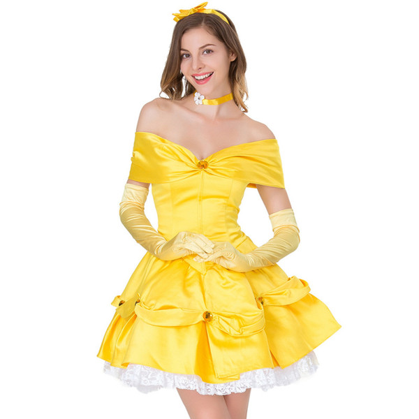 Anime Movie Fairy Yellow Princess Fancy Dress Carnival Halloween Cosplay Costume Performance Amusement Park Fairy Tale Cartoon Outfits