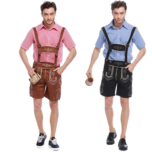 Cerveja alemã Okotoberfest Bavarian Guy Mens Lederhosen Crianças Adulto trajes de Halloween Fancy Dress Outfit Algodão + couro genuíno