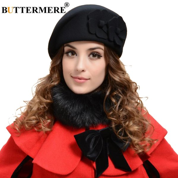 BUTTERMERE Black French Beret For Women Wool British Painters Hat Ladies Elegant Flower Solid Female Autumn Artist Cap Red Camel