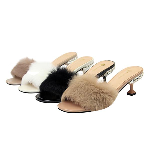 Women Sexy Fur Sandals Lady Open Toe Stilettos High Heels Crystal Dress Sandal Rhinestone Party Pumps Fur Slippers