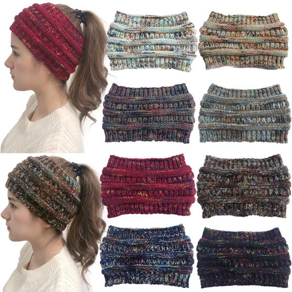2019 nuevo crochet de punto diadema ancha mujeres deportes de invierno diadema diadema turbante calentador de orejas orejeras cola de caballo accesorios para el cabello c0152