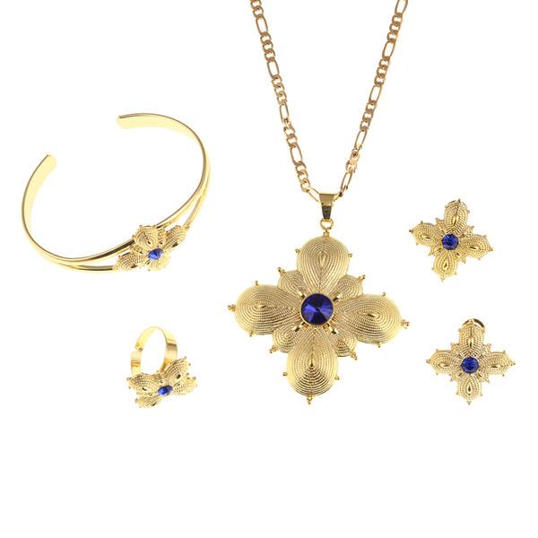 Conjuntos de joyas de etíope Colgante Collar Pendientes Anillo Brazalete Regalo de boda nupcial africano