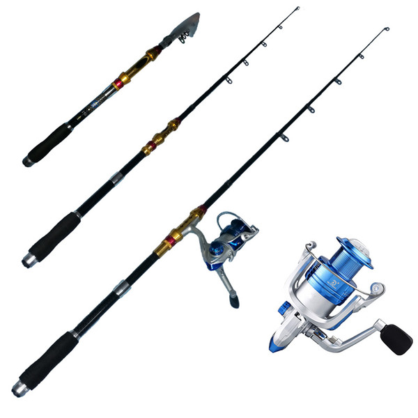 1.8m and 2.1m portabletelescopic fishing rod reel combo fishing rod + spinning reel thumbnail