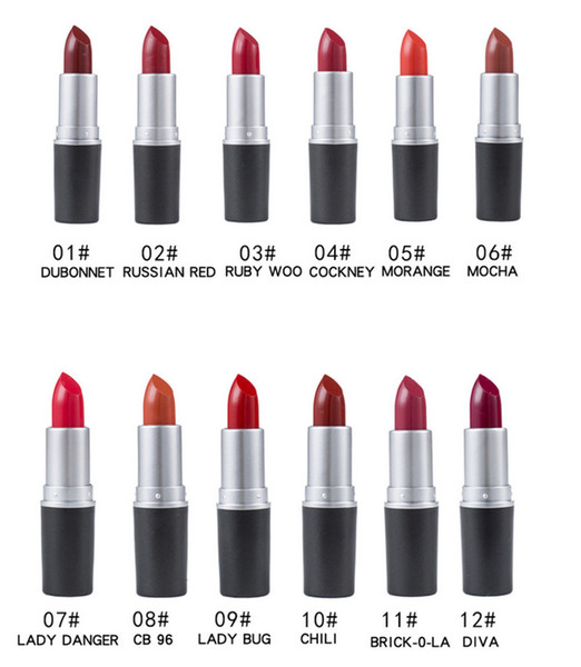 NEW matte Lipstick M Makeup Luster Retro Lipsticks Frost Sexy Matte Lipsticks 3g 12 colors lipsticks with English Name Wholesale and retail