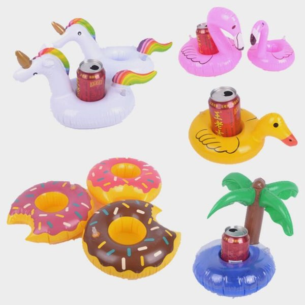 Gonfiabile Cup Holder Unicorn Ananas fungo Coconut Tree Drink Coaster Summer Party Fornitore Pool Toy CCA11574-A 150pcs